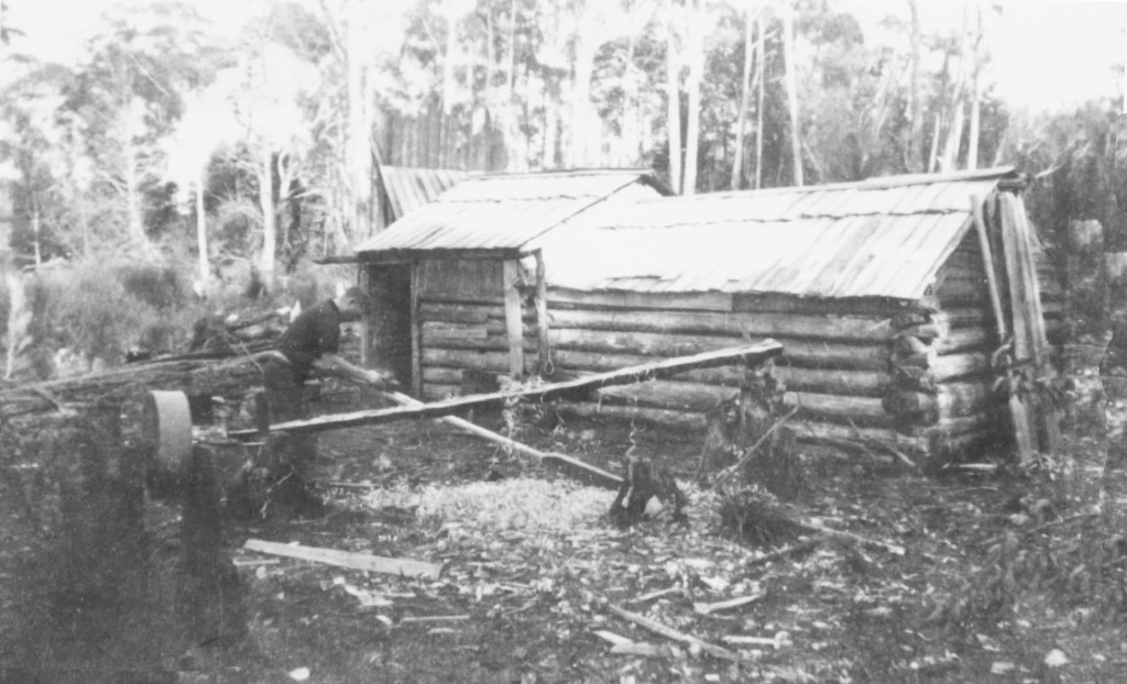 Charlie Abel making oar Jane River camp 1934